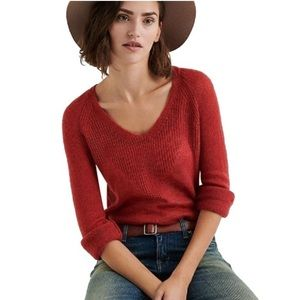 Lucky Brand Rayne Rusty red v-neck sweater